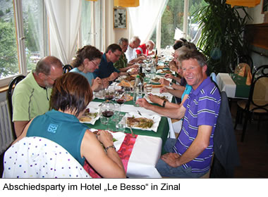 "Abschiedsparty im Hotel ""Le Besso"" in Zinal"