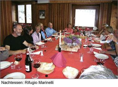 Nachtessen: Rifugio Marinelli
