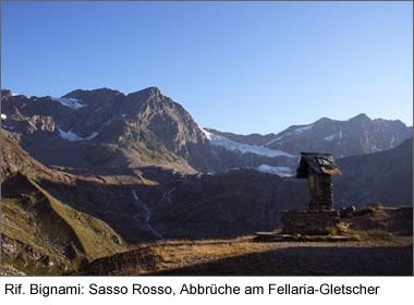 Rif. Bignami: Sasso Rosso, Abbrüche am Fellaria-Gletscher